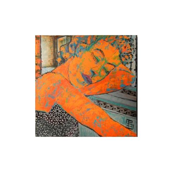 TABLEAU PEINTURE cubaine endormie attente orange Personnages Acrylique  - longue attente
