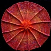 mixte abstrait rond : soleil rouge