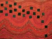 mixte abstrait carres rouge noir ondule : rouge et noir