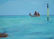 tableau marine finistere mer bateau bretagne : Vue de Sainte-Marine