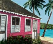tableau paysages case ile mer tropiques : Case rose