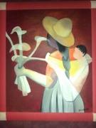 tableau personnages arum fleurs vendeuse toffoli : vendeuse d' arums