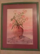 tableau fleurs pot roses aquarelle jpln94 : pot aux roses