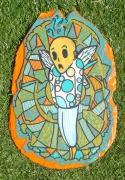 autres autres angelot mort aile carre : ardoise peinte