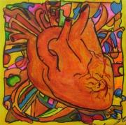 tableau autres coeur couleur joie vitrail : coeur