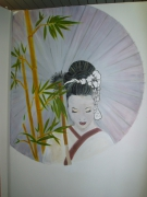 deco design personnages geisha ombrelle bambou gris : geisha