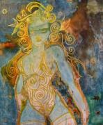 tableau personnages femme guerriere dore combattante : la furibonde