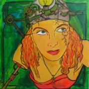 tableau personnages robot femme vert erotique : femelle androide cherchant a avoir une idée