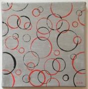 tableau abstrait contemporain moderne geometrique ronds : Empreintes rondes fond argenté