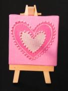 tableau abstrait contemporain moderne fuschia argent : 3 mini cadres coeur glamour rose avec chevalet peint