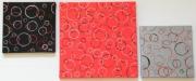 tableau abstrait contemporain moderne geometrique ronds : Triptyque empreintes de ronds