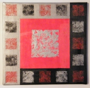 tableau abstrait contemporain moderne geometrique carre : Autour des carrés rouges noirs et argentés