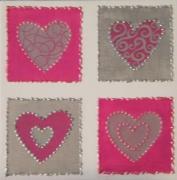 tableau abstrait contemporain moderne fuschia argent : 4 coeurs rose fuschia argent