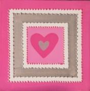 tableau abstrait moderne contemporain fuschia argent : Coeur solocencadré