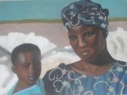 tableau personnages femme senegal enfant lac rose : Au bord du lac rose