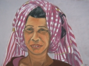tableau personnages cambodge krama femme portrait : Femme Cambodgienne et son krama