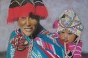 tableau personnages peruvienne enfant portrait bleu : Péruvienne et son enfant