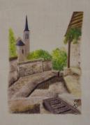 artisanat dart paysages lin lavoir peinture : Panification