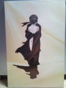 tableau personnages femme homme sahara dos : femme