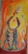 dessin personnages musique afrique vibration rythme : Le joueur de djembe