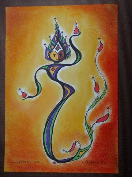 DESSIN Cambodge danse Angkor temple Personnages  - Apsara 1