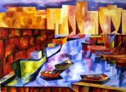 tableau paysages port bateaux geometrie colore : Couleurs sur le port