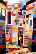 tableau autres rue geometrie colore escaliers : Rue Magenta
