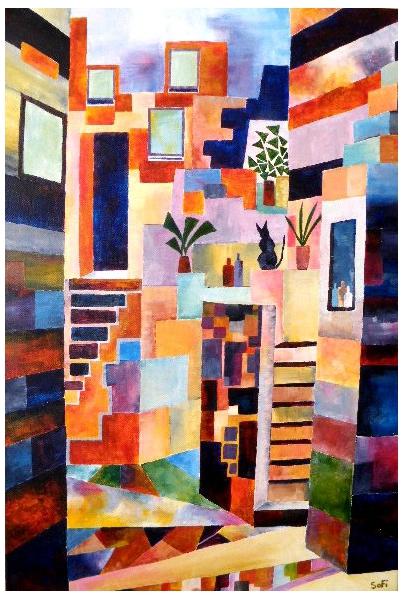 TABLEAU PEINTURE rue géométrie coloré escaliers Acrylique  - Rue Magenta