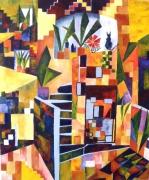 tableau paysages ruelle escalier chat geometrie : Ruelle à collioure