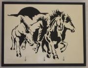 bois marqueterie animaux chantourner portrait bois : Cadre chevaux