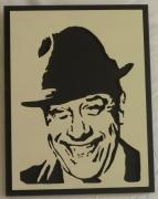 bois marqueterie personnages gravure : Cadre Fernandel