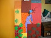 tableau personnages tableau en technique tableau d afriq tableau avec des mor : Tableau puzzle d'Afrique en technique mixte