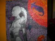 """tableau scene de genre tableau femme de l tableau femme robot tableau technique mi tableau du futur : Tableau en tecnique mixte """"Femme de l'espace"""""""