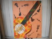 tableau autres peinture ,a l hu tableau de guitare musique : Tableau peinture à l'huile : guitare