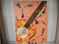 Tableau peinture à l'huile : guitare