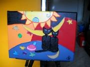 tableau animaux peinture acrylique tableau de chats collage : Petit tableau de chats