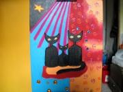 tableau animaux tableau peinture acrylique chats aert naif : Tableau en peinture acrylique : Les trois chats noirs