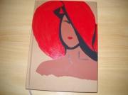 """artisanat dart personnages carnet journal inti peinture acrylique piece unique : Carnet """"Femme au chapeau rouge"""""""