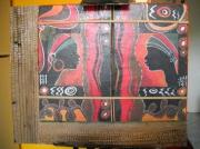 tableau scene de genre tableau africain collage papier et ec collage vegetal : tableau végétal africain