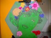 """tableau fleurs portrait de femme tableau peinture acr tableau femme fleurs dryade : Tableau en peinture acrylique : """"La femme-fleurs"""""""