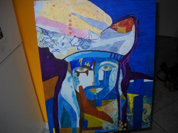 TABLEAU PEINTURE tableau technique mi visage d'homme peinture acrylique,  collage papier et ti Personnages  - Tableau technique mixte : l'homme bleu