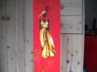 """Tableau peinture huile et collage de plumes """"Mannequin"""""""