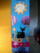 tableau animaux tableau peinture acrylique chats art naif : Tableau peinture acrylique : Deux chats noirs