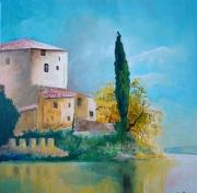 tableau paysages batisse lac cypres : la maison du lac