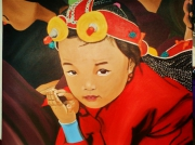 tableau personnages enfant portrait enfant du monde tibet : collection enfants du monde