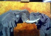 tableau animaux afrique elephants animaux : Combat d'éléphants