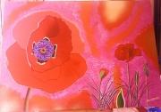 tableau fleurs fleur nature rouge coquelicot : Naissance de coquelicots