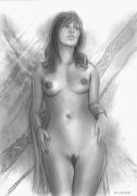 tableau nus dessin nu portrait cayon : danielle dessin de nu