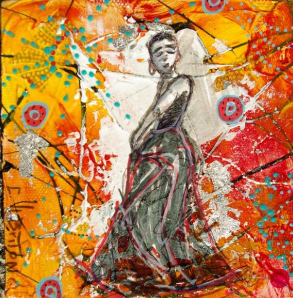 TABLEAU PEINTURE couleurs flamenco danse espagne Personnages Acrylique  - couleurs