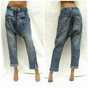 art textile mode autres sarouel jean recyclage ecomode : Sarouel unisexe à entrejambe courte PATCHWORK BLUE DENIM